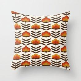 Boogie - retro florals minimal trendy 70s style throwback flower pattern Throw Pillow