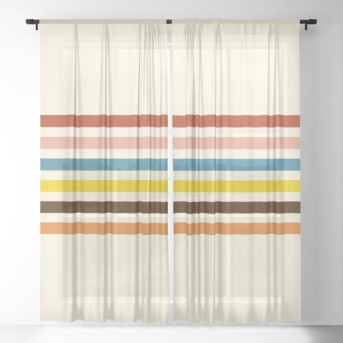 Classic Retro Stripes Govannon Sheer Curtain