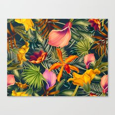 Tropical flowers and leaves pattern Canvas Print