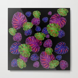 TROPICAL PURPLE-GREEN  LEAVES BLACK ART PATTERNS Metal Print