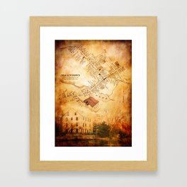 Allentown, New Jersey Map and Mill by Ericka O'Rourke Framed Art Print