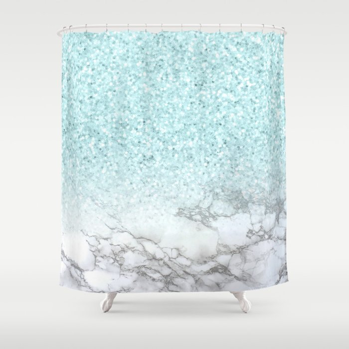 Pretty Turquoise Marble Sparkle Shower Curtain