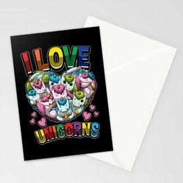 I Love Unicorns - Heart Full Of Mythical Creatures Stationery Cards