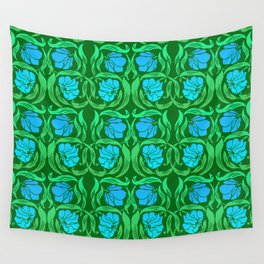 William Morris Pimpernel, Blue and Emerald Green Wall Tapestry
