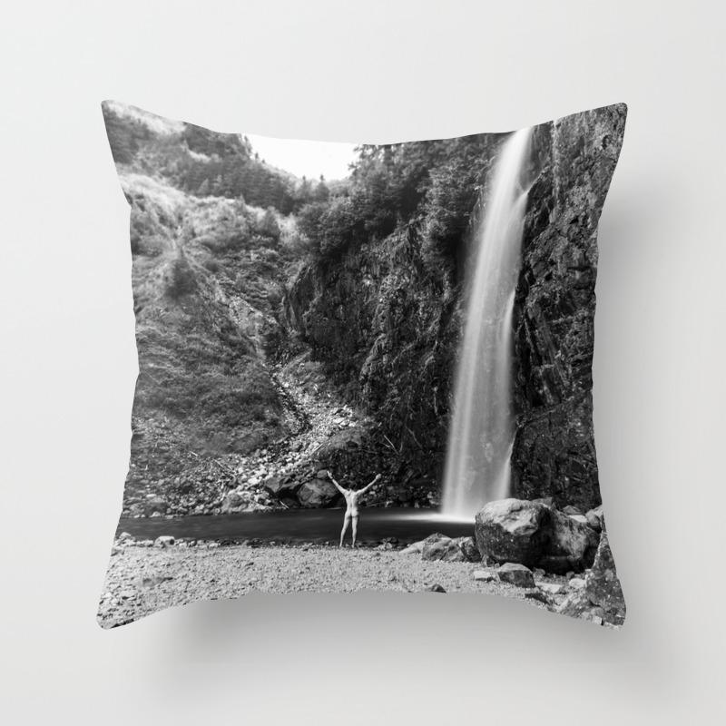 Naked Long Exposure Waterfall Throw Pillow By Richardlawrence Society6