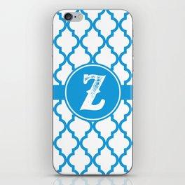 Blue Monogram: Letter Z iPhone Skin