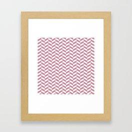 Puce Pink Herringbone Pattern Framed Art Print