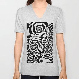 Raindrops 2 Black and White Geometric Painting Unisex V-Neck