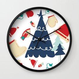 Christmas tree blue Wall Clock