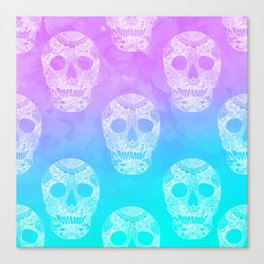 Modern white floral lace hand drawn skull on purple turquoise mermaid ocean watercolor Canvas Print