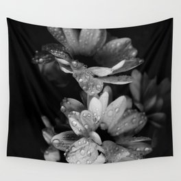 Flower and drops. Black and white. Wall Tapestry