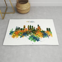 Philadelphia Watercolor Skyline Rug