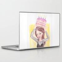 happy birthday Laptop & iPad Skins featuring Happy Birthday by carotoki art and love