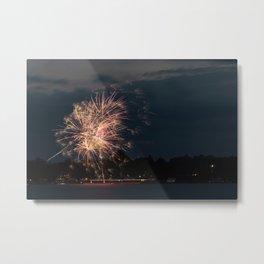 Fireworks Over Lake 33 Metal Print