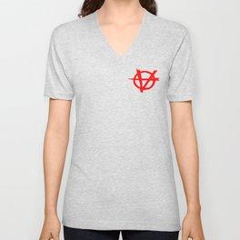 Vagenda Basic Red Logo Over Black Unisex V-Neck