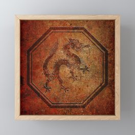 Distressed Chinese Dragon In Octagon Frame Framed Mini Art Print