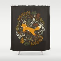 fox Shower Curtains featuring Fox Tales by Anna Deegan