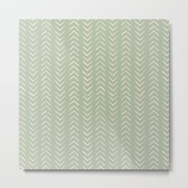 Sage Green Arrow Mudcloth  Metal Print
