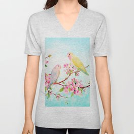 Watercolor Apple Blossoms and Love Birds Unisex V-Neck