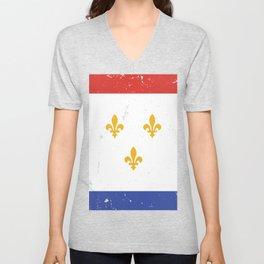 Red White Blue New Orleans Nola Louisiana Flag with Three Gold Fleurs de Lis Unisex V-Neck