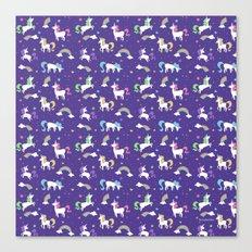 Unicorns and Rainbows - purple -tiny Canvas Print