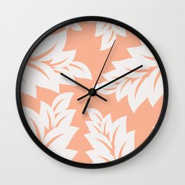 tropical coral leaves Wall Clock