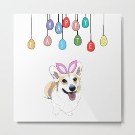 Happy Easter - Corgi Bunny Metal Print