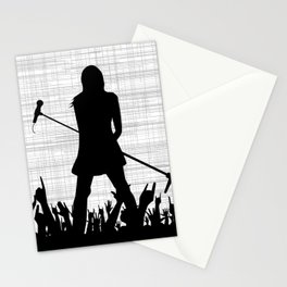 Girl With Microphone Stationery Cards