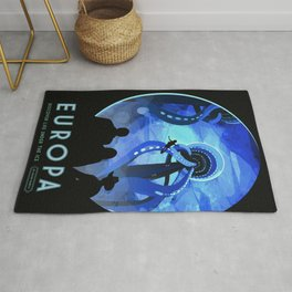 Europa Space Travel Retro Art Rug