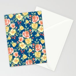 Yellow and Pink with Green Leaves Pattern Flower Stationery Cards