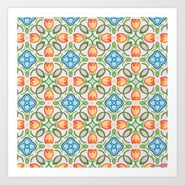 FLOWER TILE DESIGN (ORANGE, TEAL, GREEN) Art Print