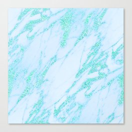 Teal Marble - Shimmery Glittery Turquoise Blue Sea Green Marble Metallic Canvas Print