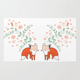 Foxes Under Floral Rug