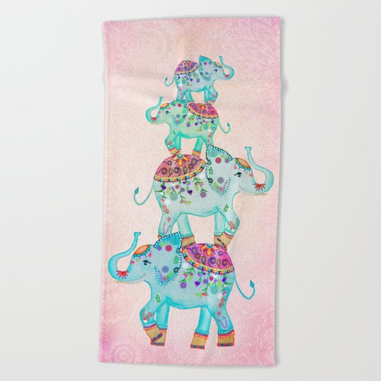 LUCKY ELEPHANTS Beach Towel