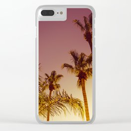 Tall Palm Trees and Pink Sky, Palm Springs, California Clear iPhone Case