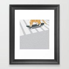 Skateboarding cat Framed Art Print
