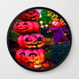 pumpkin stack colour Halloween Wall Clock