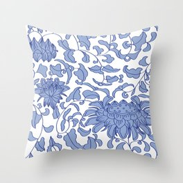 Chinoiserie Vines in Delft Blue + White Throw Pillow