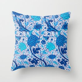 William Morris Jacobean Floral, Cobalt Blue Throw Pillow
