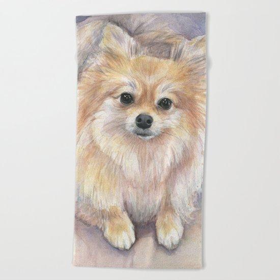 Pomeranian Watercolor Pom Puppy Dog Painting Beach Towel