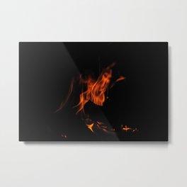 Fire Skull Metal Print