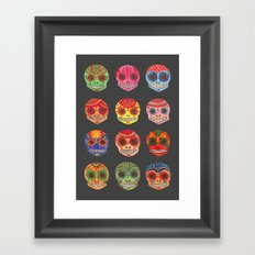 Watercolor Dia de los Muertos Skulls Framed Art Print