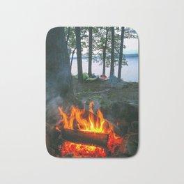 Campfire and Kayaks on Lake Pemaquid in Damariscotta, Maine Bath Mat