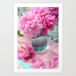Peonies In Mason Jar  Art Print