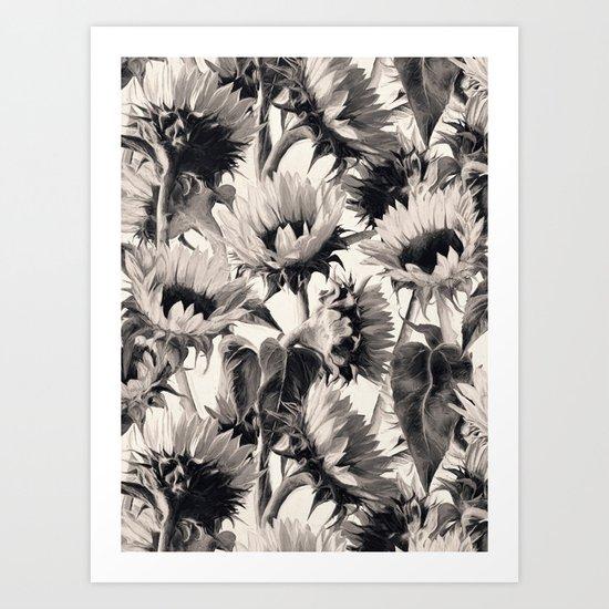 Sunflowers in Soft Sepia Art Print