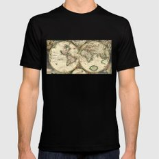 Old map of world hemispheres (enhanced) Mens Fitted Tee MEDIUM Black