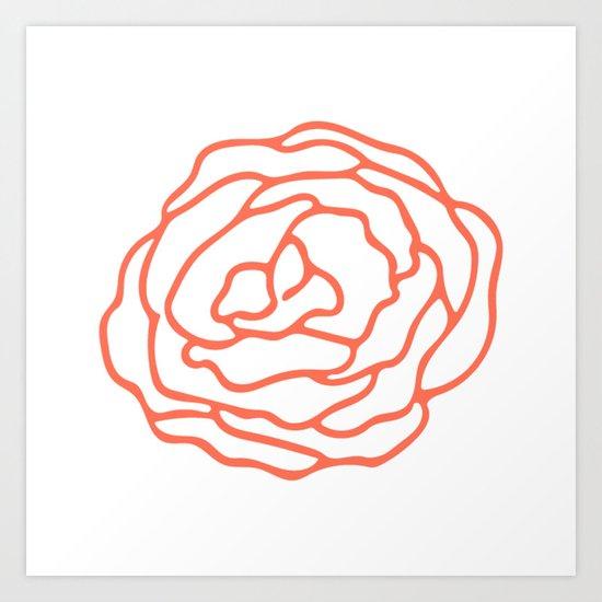 Rose Deep Coral on White Art Print