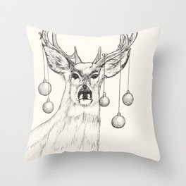 Festive Deer Sketch by Monika Throw Pillow