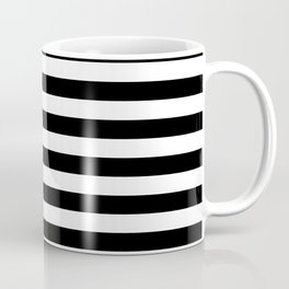 Black and White Horizontal Strips   Classic Cabana Stripe Coffee Mug