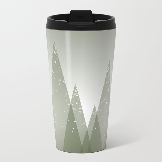 Green Abstract Forest Metal Travel Mug